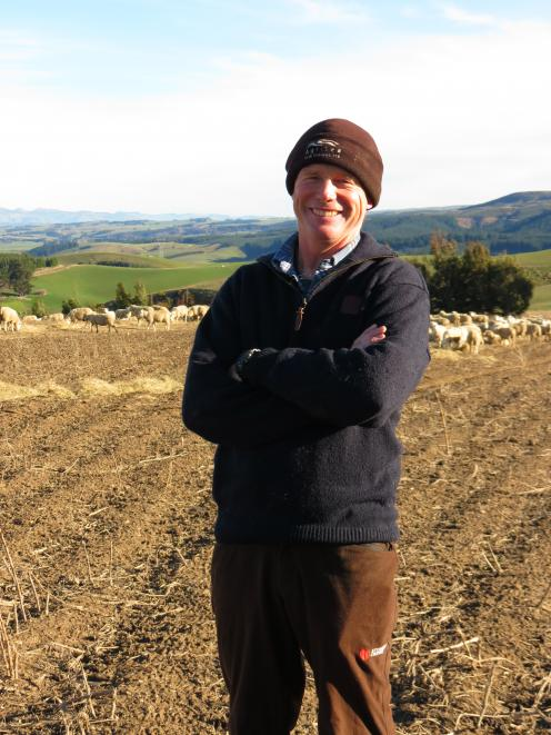 Organic sheep and beef farmer Allan Richardson, of Heriot, said his organically-farmed in-lamb ewe hoggets (behind him), had only received one drench in their lives compared to conventionally-farmed ewe hoggets, which receive five to six drenches. The ewe