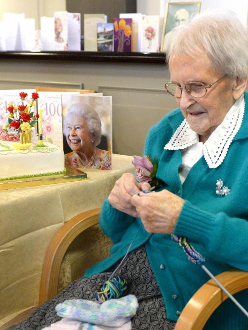 Centenarian Mary Cochrane gets her needles out during her birthday celebrations at the weekend....