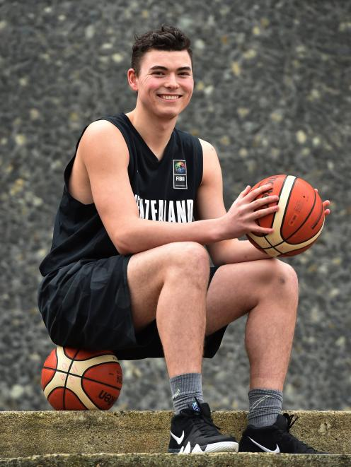 Nathan Hanna back at Otago Boys' High School after helping the Junior Tall Blacks to second place at the Fiba under-18 Asia Championships in Thailand. Photo: Peter McIntosh