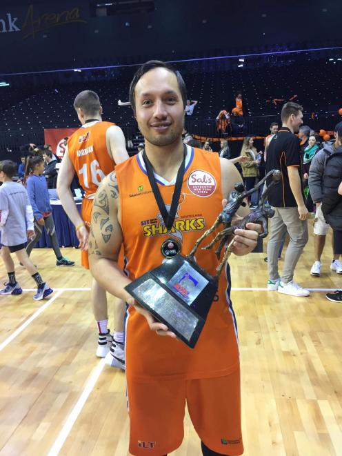 Southland Sharks player Lydon Aoake after his team beat the Wellington Saints in the NBL championship final in Wellington on Sunday. Photo: Supplied