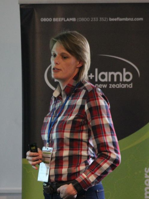 Massey University senior lecturer Dr Nicola Schreurs talks about the dairy beef system, at the conference.