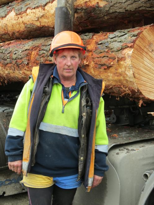 Pam Bennett, of Invercargill, drives a log truck for her living, and was in Ettrick to pick up a load of logs last week. She has been driving for Sanson Haulage Ltd for about 18 months.