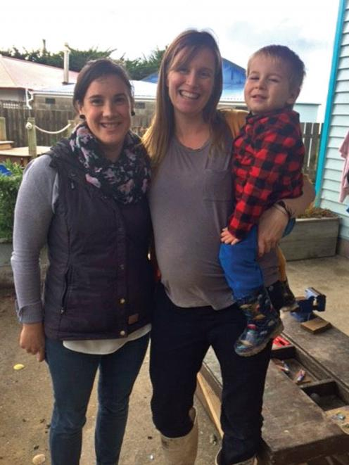 Awarua Whanau Services registered nurse Cara Morton and Stewart Islander Karin Lewis with son...