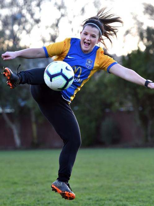 Dunedin Technical Football player Chelsea Whittaker trains at Logan Park on Tuesday night. Photo: Peter McIntosh