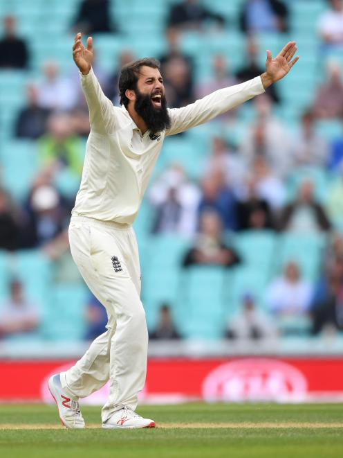 Moeen Ali appeals during the recent test series against India. Photo: Getty Images