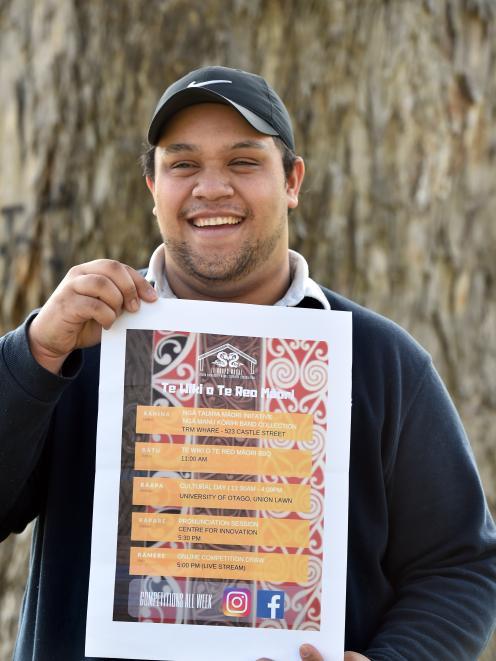 University of Otago Maori Students Association Maori Language Week organiser Tukukino Royal holds...