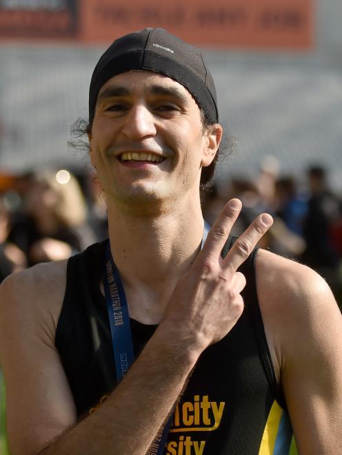 Marathon winner Romain Mirosa on his way to winning the Dunedin Marathon yesterday.