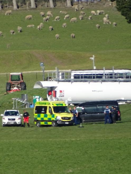A skydiver was taken to Lakes District Hospital this afternoon with moderate injuries after crashing on the NZONE landing site. Photo: Tracey Roxburgh