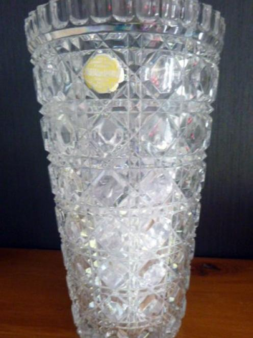 A crystal vase won by Sally Grant's father, Ron, at the New Zealand and South Seas Exhibition in...