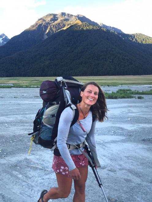 Miriam Lancewood tramping in the New Zealand wilderness