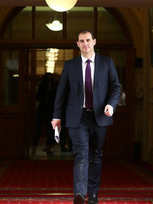 Jami-Lee Ross leaves Parliament after his explosive media conference yesterday.