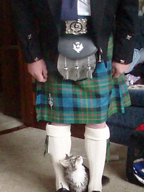It is probably just as well Pantha can't talk after this close encounter with kilted owner Bill Swift. Photo: Heather Swift