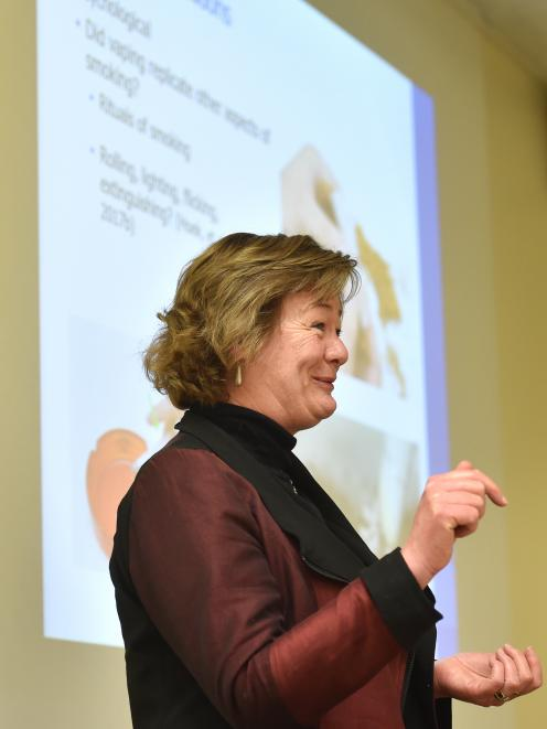 Janet Hoek speaking on vaping in Dunedin yesterday. PHOTO: PETER MCINTOSH