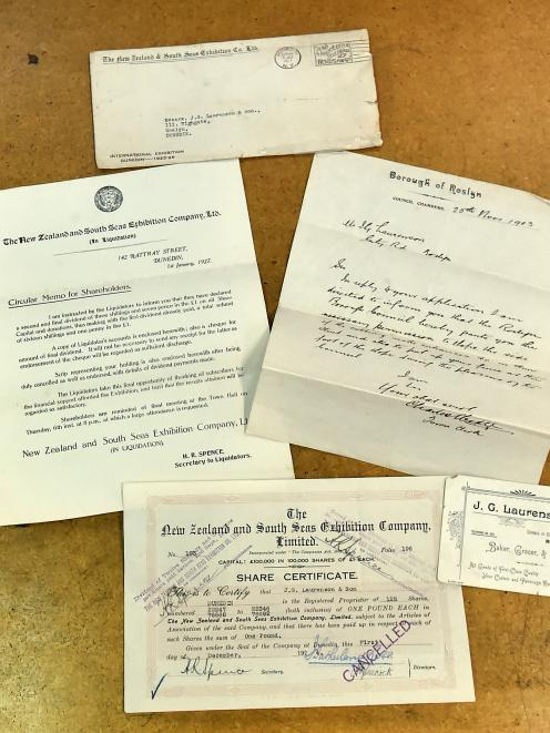 Documents, including a share certificate and receipt, and letters associated with the 1925-26 New Zealand and South Seas International Exhibition in Dunedin. Photo: Gregor Richardson