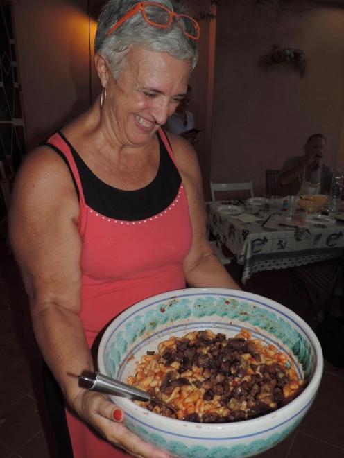 Giuseppina Salibra with a big bowl of Pasta alla Norma. Photo: Charmian Smith