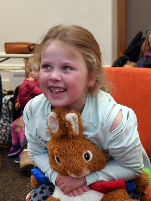Olivia Stringer (7), of Dunedin, is reunited with her bed-buddy Peter Rabbit following the Toitu...