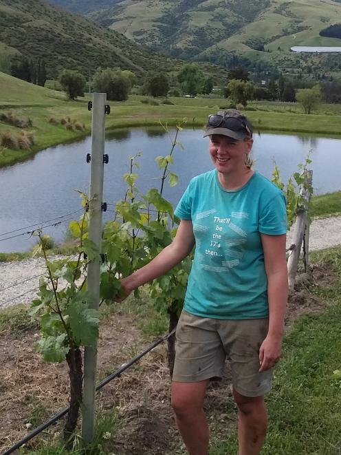 Award-winning viticulturist Annabel Bulk, in the vineyard at Felton Road, is preparing for a busy...