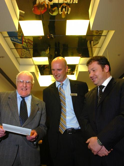Left-right: Sir Robin Gray, Westpac's Philip Moore, and then Otago Chamber of Commerce chief...