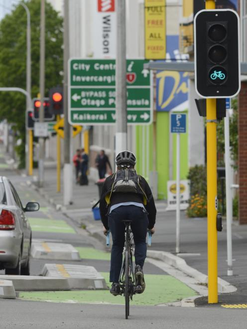 Recent changes to the phasing of the one-way cycle lane lights heading south mean cyclists now have two phases in which they have the right of way, when previously they only had one. Photo: Gerard O'Brien