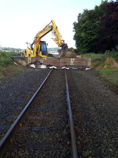ORC installed a barrier on the main railway line into Balclutha, where it goes through the flood...