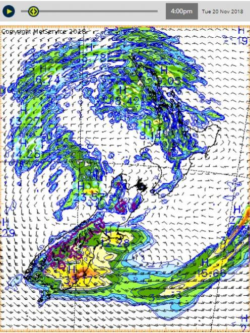 The worst of the rain is forecast for about 4pm. Image: MetService