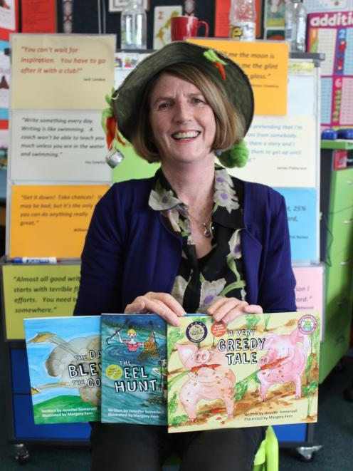 Jennifer Somervell with some of her books at St Mary's School, in Milton, last week during her Otago tour. Photo: Ella Stokes