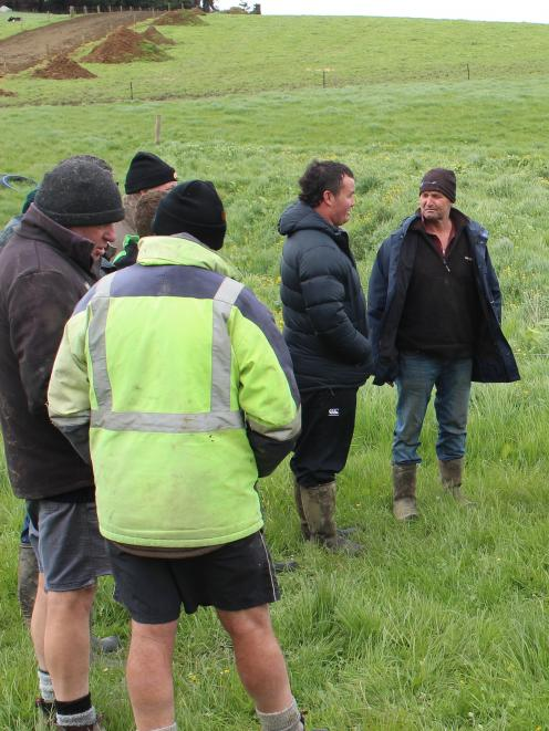 Pomahaka Water Care Group members discuss practical ways to reduce sediment loss and how to stop it from entering waterways at an on-farm field day in Waipahi last week. Photo: Ella Stokes