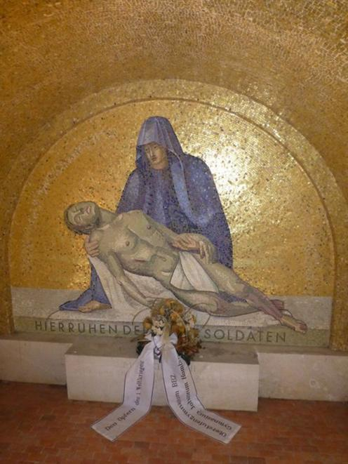 The pieta in the gatehouse of the German military cemetery in Romagne-sous-Mountaucon, France,...