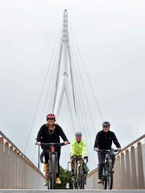 Trying out the new Leith Bridge before its opening tomorrow are (from left) city councillor Kate...