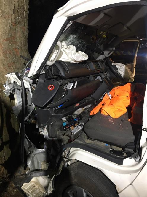 Emergency services were called to a crash near Bannockburn early this morning after a van hit a tree. Photo: Supplied