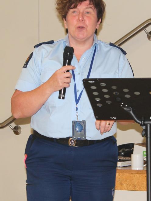 Senior Ser geant Cynthia Fairley of Gore speaks at a Meth Awareness Community Information meeting in Mataura. Photo: Margaret Phillips