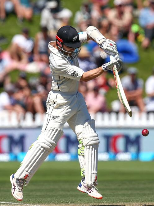 New Zealand captain Kane Williamson bats on the second day of the first test against Sri Lanka in...