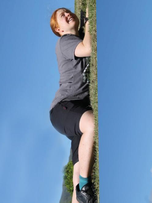 Jennie Salter practises climbing the beanstalk.