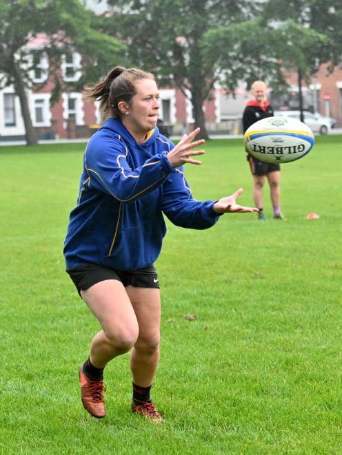 Otago sevens player Julia Gorinski at Otago sevens training at North Ground earlier this week....