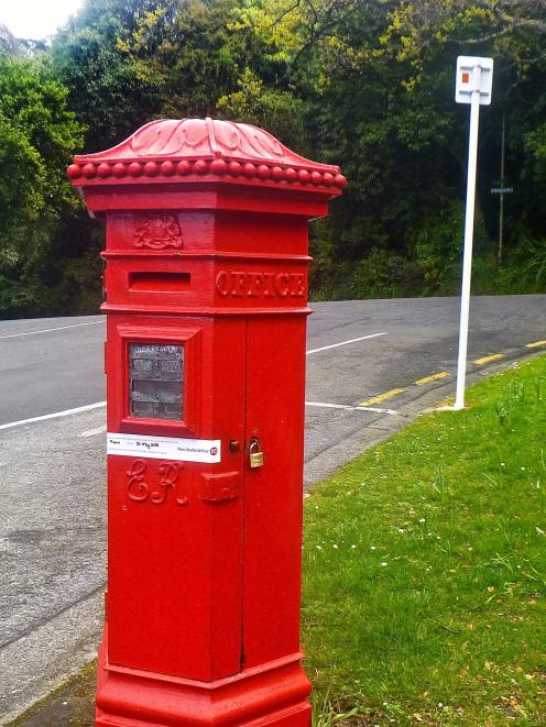 Penfold design Edwardian postal box, located outside Olveston's main entrance in Cobden St. The...