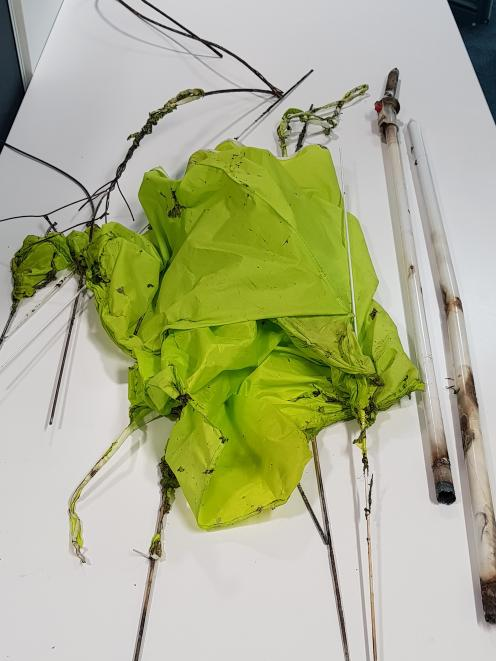The remains of the umbrella that caused a power cut to most of Alexandra on January 15. Photo: Aurora Energy