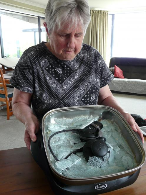 Balclutha resident Mary Laurenson received a fright on Monday morning when the toughened glass lid of her electric frying pan spontaneously exploded. Photo: Richard Davison