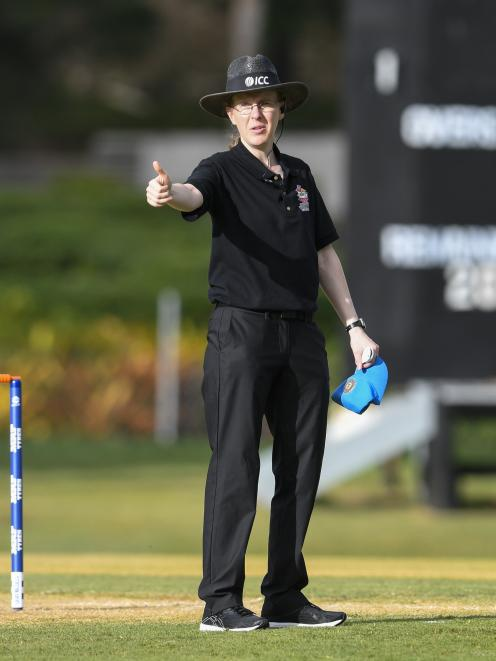 Umpire Kim Cotton at the ICC Women's World T20 last year. Photo: Getty Images