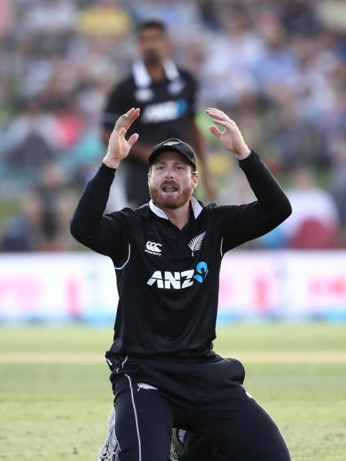 Martin Guptill of the New Zealand Blackcaps reacts during the One Day International match between New Zealand and Sri Lanka at Bay Oval. Photo: Getty Images
