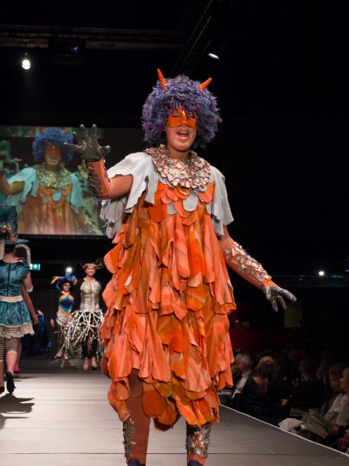 Piper Ryland wears her wearable art piece at the 2018 FibreOctave Wearable Arts Awards. P