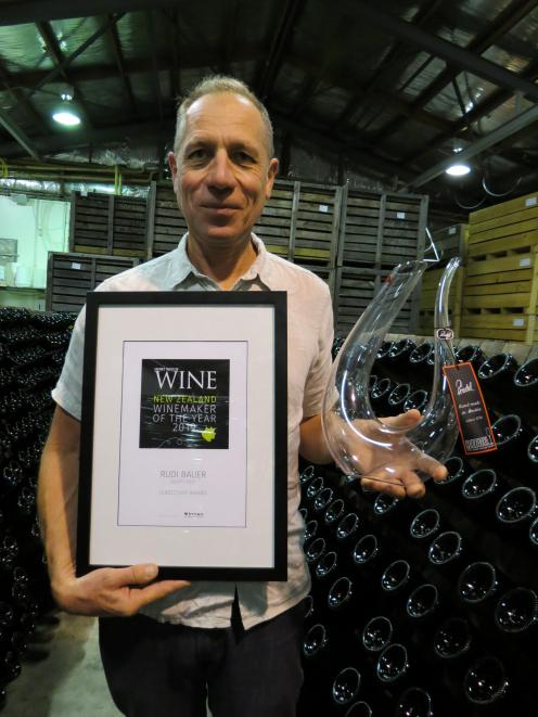 Quartz Reef viticulturist and winemaker Rudi Bauer, of Cromwell, was awarded the The Gourmet Traveller Wine's 2019 Leadership award for his achievements and service to the Central Otago and national wine industry at a function in Auckland last week. Photo