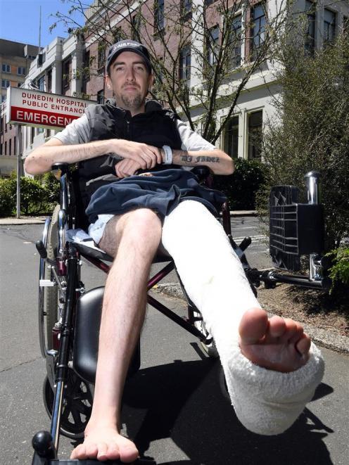 Hit-and-run victim Tim Patrick outside Dunedin Hospital. Photo: Stephen Jaquiery