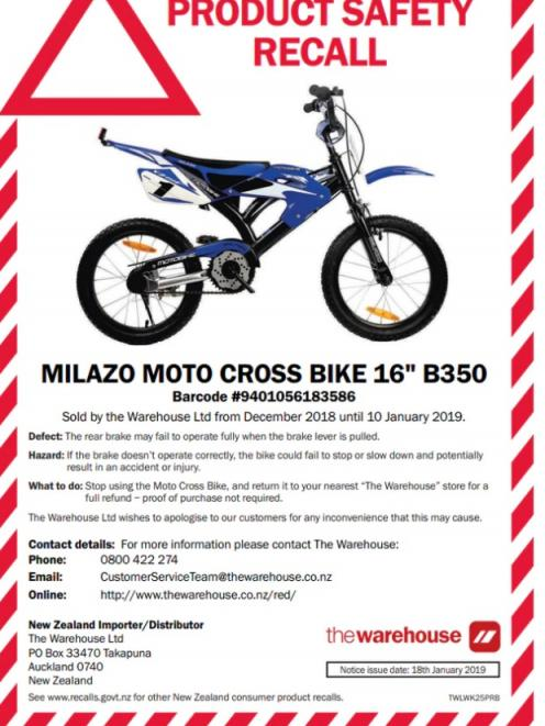 The Milazo motocross bike has been recalled after the discovery that its rear brake may fail. Photo: The Warehouse