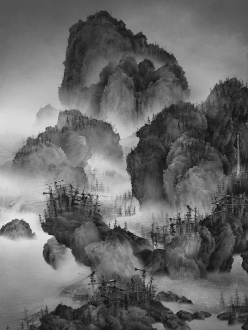 Travelers among Mountains and Streams, by Yang Yongliang