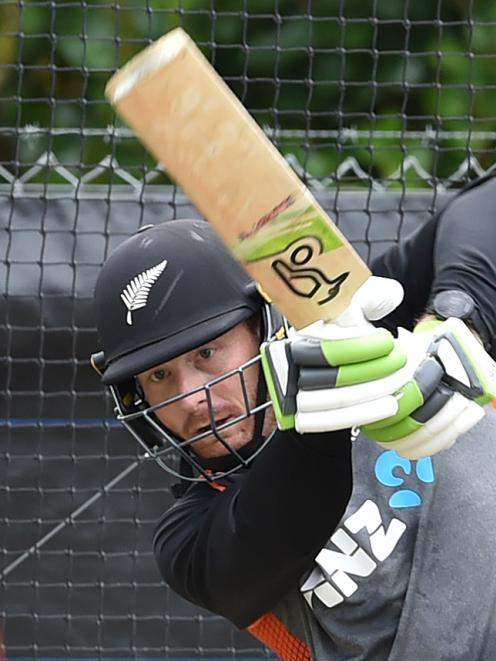 Black Caps opener Martin Guptill dispatches a delivery during a net session at the University of Otago Oval yesterday. Photo: Gregor Richardson
