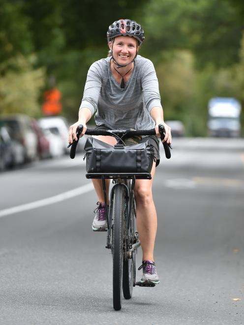Kate Robichaud, of the University of Otago School of Physical Education, is one of many in the department taking part in the Aotearoa Bike Challenge this month. Photo: Gregor Richardson