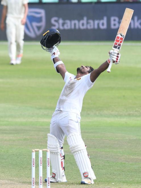 Sri Lanka's Kusal Perera celebrates the victory. Photo: Getty