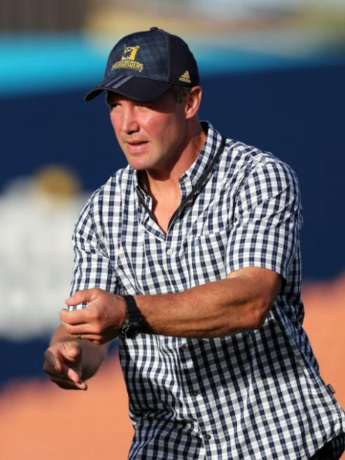 Highlanders coach Aaron Mauger before the start of the game in Hamilton last night. Photo: Getty Images