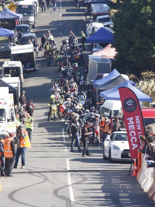 Contestants in the hill climb segment of the Burt Munro Challenge prepare for a test lap up the 1...