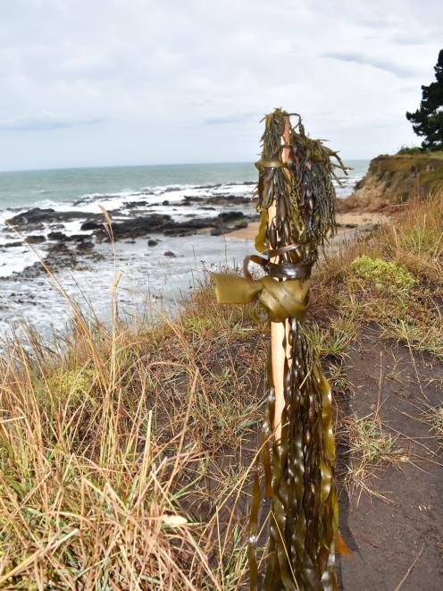 A pou marks the site where Kereta Tatana (24), of Ahipara, Northland, and Wharerika Popata (30), of Windsor, North Otago, died this week. Te Runanga o Moeraki has placed a rahui on the Kakanui coast where the men drowned for two weeks, as a mark of respec